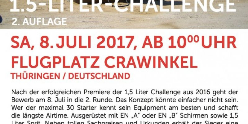 1,5 L Paramotor-Challenge am 8.Juli in Crawinkel